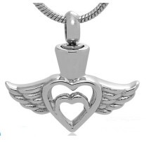 Wings Stainless Steel Cremation Pendant