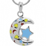 Moon and Star Stainless Steel Cremation Pendant