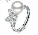 925 Sterling Silver Womens Pearl Ring