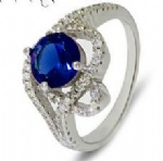 925 Sterling Silver Womens sapphire Ring