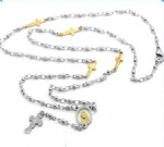 Stainless Steel Rosary Catholic Necklace Jesus
