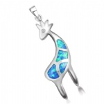925 Sterling Silver Opal Fawn Pendant