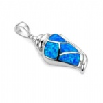 925 Sterling Silver Opal Conch Pendant