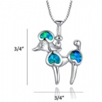 925 Sterling Silver Opal Dog Pendant