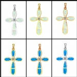 925 Sterling Silver Opal Cross Pendant