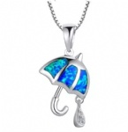 925 Sterling Silver Opal Umbrella Pendant